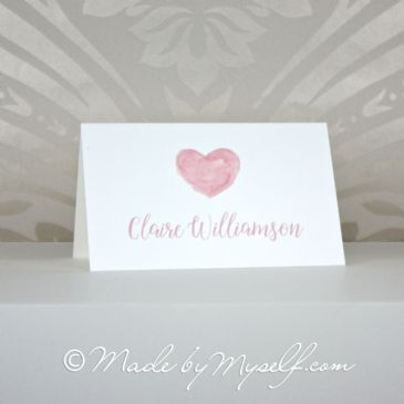 Watercolour Heart Place Card